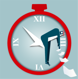 illustration of overworked man on arm of clock dropping papers