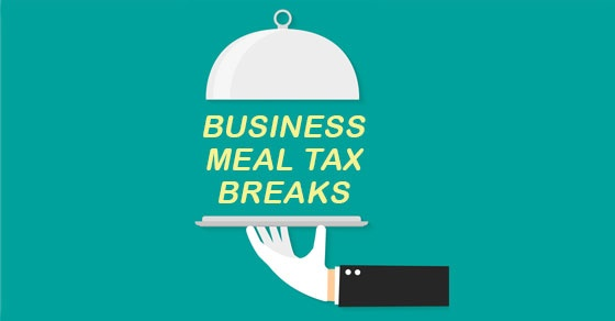 "white gloved server arm vector image holding dinner platter with words ""Business Meal Tax Breaks"" being served"