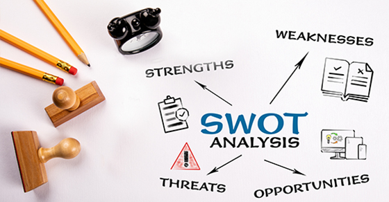 SWOT analysis. Strategy, planning, project and business concept. Chart with keywords and icons. Pencils, stamps and clock on a white table