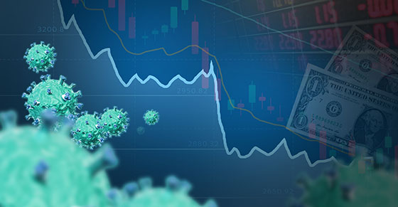 Down trend currency and candle stick, 3d illustrator virus.