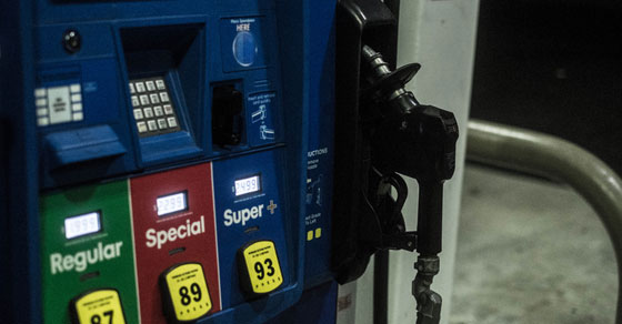 close up of gas pump showing regular, special, and super plus options