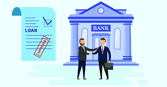 Businessmen handshake, successful business negotiations and approved loan. Loan agreement paper, bank building and male characters in trendy style. Borrower and credit agent. Flat style. Vector illustration