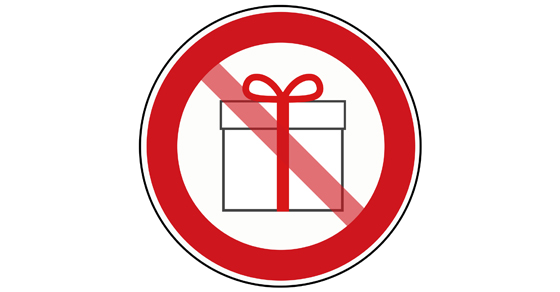 clip art present with red circle around and slash going over