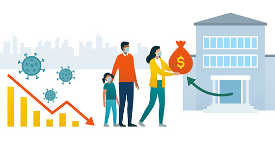 vector image of house and family holding money bag.  Graph showing downward trend