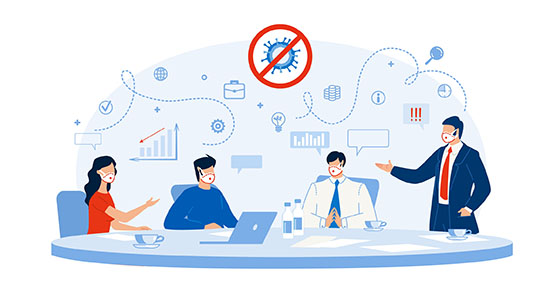 Business Workflow Strategy Planning after Coronavirus Covid19 Pandemic. Businesspeople Analytics Team Meeting, Financial Problem Statistic Discussion, Searching Solution for Business Recovery