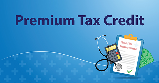 vector image of clipboard reading health insurance with calculator and stethoscope with words Premium Tax Credit above