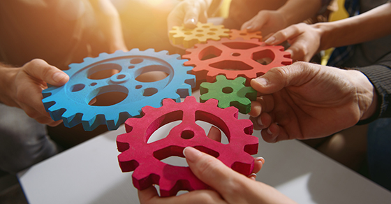 group of hands holding gears together so that all cogs fit together