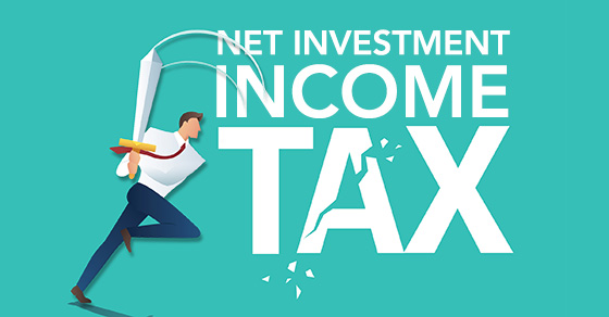 vector image of man running with sword slashing through words Net Investment Income Tax