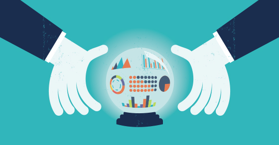 vector image of cartoon hands around a crystal ball showing different colored charts and graphs inside.