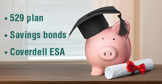 piggy bank with diploma and graduation cap.  Words in bullet point list next to it read: 529 Plan, Savings bond, Coverdell ESA