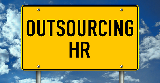 yellow road sign that says Outsourcing HR with a blue cloudy sky background