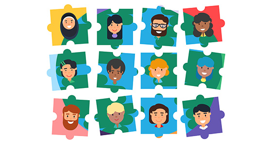 cartoon puzzle pieces showing the earth as a background.  Each piece has a different person showing diversity.  Puzzle pieces are not connected and are in 3 rows of 4 across